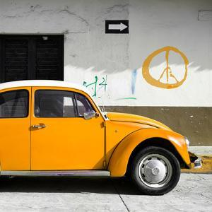 ?Viva Mexico! Square Collection - Orange VW Beetle Car & Peace Symbol by Philippe Hugonnard