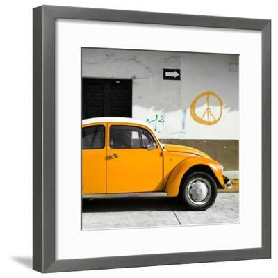 ¡Viva Mexico! Square Collection - Orange VW Beetle Car & Peace Symbol