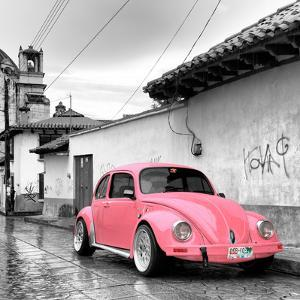 ¡Viva Mexico! Square Collection - Pink VW Beetle Car in San Cristobal de Las Casas by Philippe Hugonnard