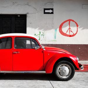 ¡Viva Mexico! Square Collection - Red VW Beetle Car & Peace Symbol by Philippe Hugonnard