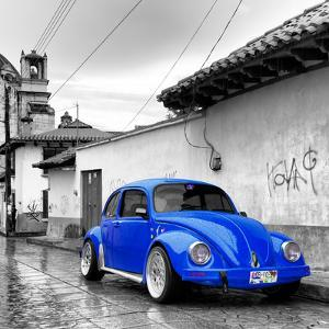 ¡Viva Mexico! Square Collection - Royal Blue VW Beetle Car in San Cristobal de Las Casas by Philippe Hugonnard