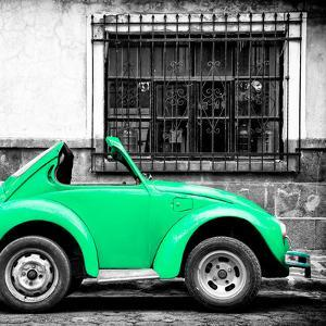 ¡Viva Mexico! Square Collection - Small Coral Green VW Beetle Car by Philippe Hugonnard