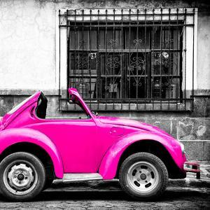 ¡Viva Mexico! Square Collection - Small Deep Pink VW Beetle Car by Philippe Hugonnard