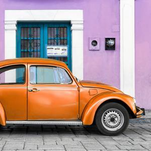 ¡Viva Mexico! Square Collection - The Orange VW Beetle Car with Thistle Street Wall by Philippe Hugonnard