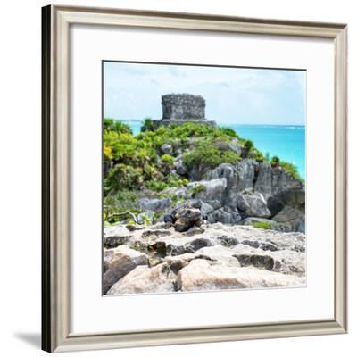 ¡Viva Mexico! Square Collection - Tulum Ruins along Caribbean Coastline with Iguana III