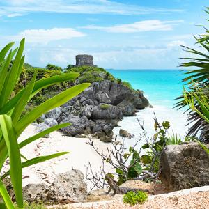 ¡Viva Mexico! Square Collection - Tulum Ruins along Caribbean Coastline with Iguana by Philippe Hugonnard