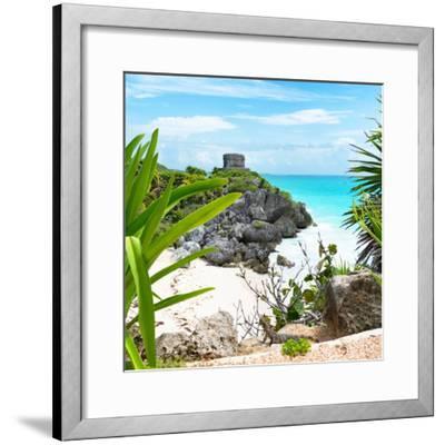 ¡Viva Mexico! Square Collection - Tulum Ruins along Caribbean Coastline with Iguana