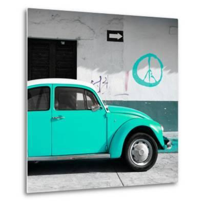 ¡Viva Mexico! Square Collection - Turquoise VW Beetle Car & Peace Symbol