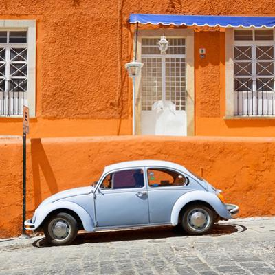 ¡Viva Mexico! Square Collection - VW Beetle Car and Orange Wall by Philippe Hugonnard