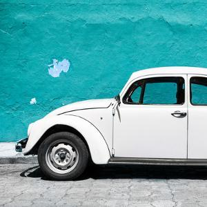 ¡Viva Mexico! Square Collection - White VW Beetle Car & Turquoise Wall by Philippe Hugonnard