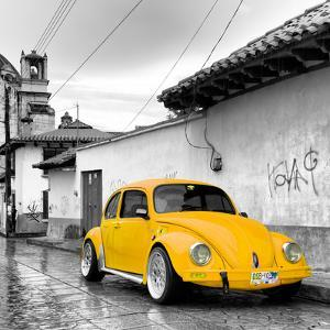 ¡Viva Mexico! Square Collection - Yellow VW Beetle Car in San Cristobal de Las Casas by Philippe Hugonnard