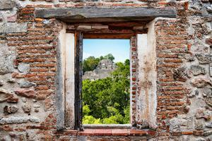 ¡Viva Mexico! Window View - Pyramid in Mayan City of Calakmul by Philippe Hugonnard