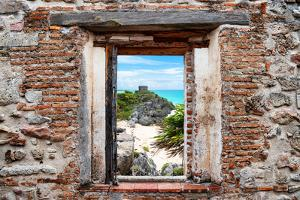 ¡Viva Mexico! Window View - Tulum Ruins along Caribbean Coastline by Philippe Hugonnard