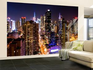 Wall Mural - Manhattan Cityscape at Night - Times Square - New York City - USA by Philippe Hugonnard