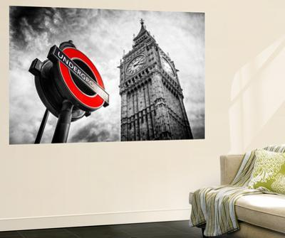 Wall Mural - Westminster Underground Sign - Subway Station Sign - Big Ben - City of London