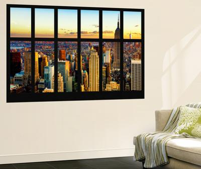 Wall Mural - Window View - Cityscape of Manhattan at Sunset - New York