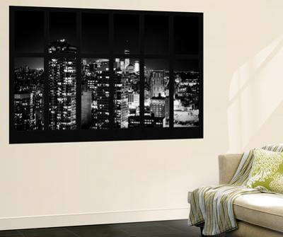 Wall Mural - Window View - Manhattan B&W at Night with the One World Trade Center - New York by Philippe Hugonnard