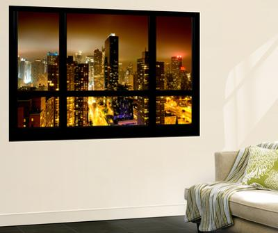 Wall Mural - Window View - Manhattan by Foggy Night - Times Square and 42nd Street - New York