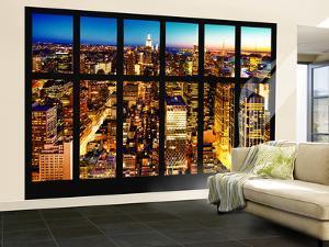 Wall Mural - Window View - Manhattan Skyline at Night - New York City by Philippe Hugonnard