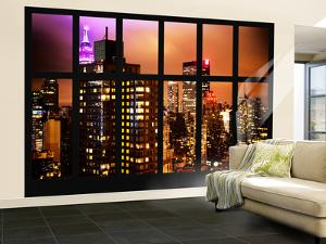 Wall Mural - Window View - Manhattan Skyscrapers at Night - New York by Philippe Hugonnard
