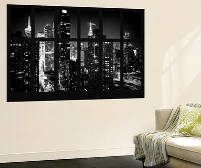 Wall Mural - Window View - Manhattan View with Times Square - New York by Night