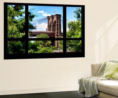 Wall Mural - Window View - The Brooklyn Bridge - Manhattan - New York