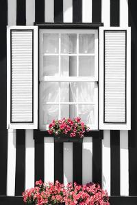 Welcome to Portugal Collection - Black and White Striped Window by Philippe Hugonnard