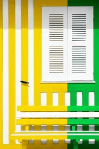 Welcome to Portugal Collection - Colorful Facade with Yellow and Green Stripes by Philippe Hugonnard