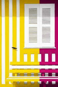Welcome to Portugal Collection - Colorful Facade with Yellow and Pink Stripes by Philippe Hugonnard