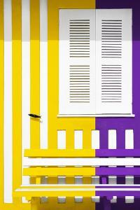 Welcome to Portugal Collection - Colorful Facade with Yellow and Purple Stripes by Philippe Hugonnard
