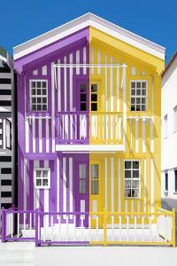 Welcome to Portugal Collection - Colorful Striped House Purple & Yellow by Philippe Hugonnard