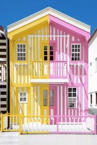 Welcome to Portugal Collection - Colorful Striped House Yellow & Pink by Philippe Hugonnard