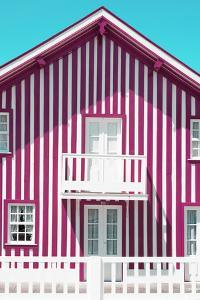 Welcome to Portugal Collection - Pink and White Striped Facade by Philippe Hugonnard