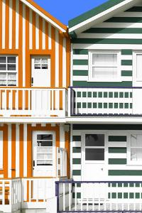 Welcome to Portugal Collection - Two Striped Facade Orange & Olive Drab by Philippe Hugonnard