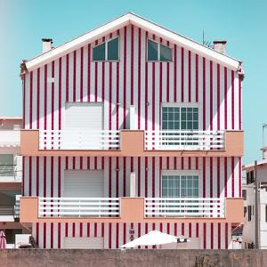 Welcome to Portugal Square Collection - Red Striped House II by Philippe Hugonnard