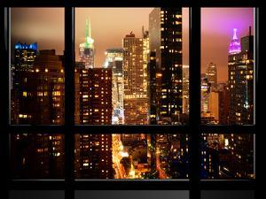 Window View, Atmosphere Foggy, Times Square, Midtown Manhattan, NYC by Philippe Hugonnard
