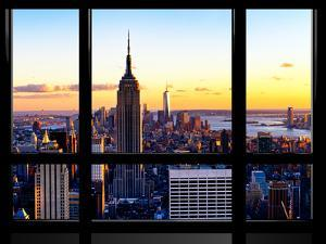 Window View, Empire State Building and One World Trade Center (1WTC) at Sunset, Manhattan, New York by Philippe Hugonnard