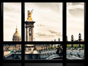 Window View, Special Series, Alexander Iii Bridge and Seine River Views at Sunset, Paris, Europe by Philippe Hugonnard