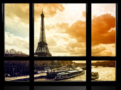 Window View, Special Series, Eiffel Tower and the Seine River at Sunset, Paris, France, Europe by Philippe Hugonnard