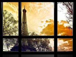 Window View, Special Series, Eiffel Tower at Sunset, Paris, France, Europe by Philippe Hugonnard