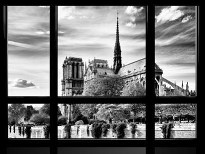 Window View, Special Series, Notre Dame Cathedral View, Paris, Europe, Black and White Photography by Philippe Hugonnard