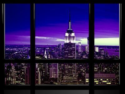 Window View, Special Series, Skyline Manhattan, Purple Night, New York, United States, USA by Philippe Hugonnard