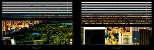Window View with Venetian Blinds: Central Park with Upper West Side Buildings at Sunset by Philippe Hugonnard