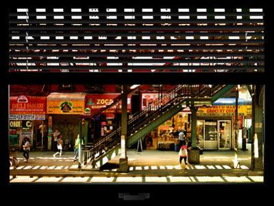 Window View with Venetian Blinds: Subway Station View of Williamsburg - Brooklyn