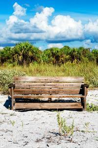 Wooden Bench overlooking a Florida wild Beach by Philippe Hugonnard