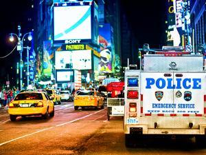 Yellow Cabs and Police Truck at Times Square by Night, Manhattan, New York, US, Colors Night by Philippe Hugonnard