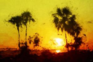 Yellow Sunset - In the Style of Oil Painting by Philippe Hugonnard