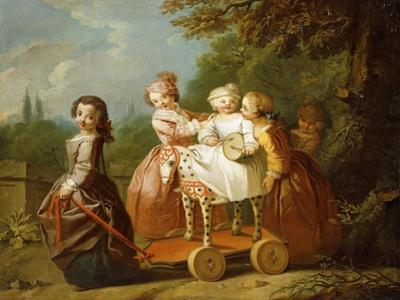 A Young Boy on a Hobbyhorse, with Other Children Playing in a Garden by Philippe Mercier