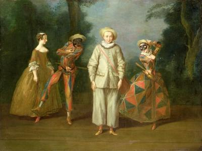 Pierrot and Harlequin by Philippe Mercier