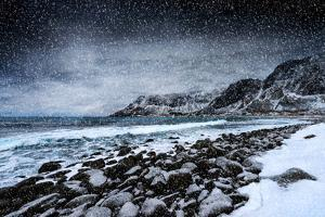 Unstad Beach Under Snow by Philippe Sainte-Laudy